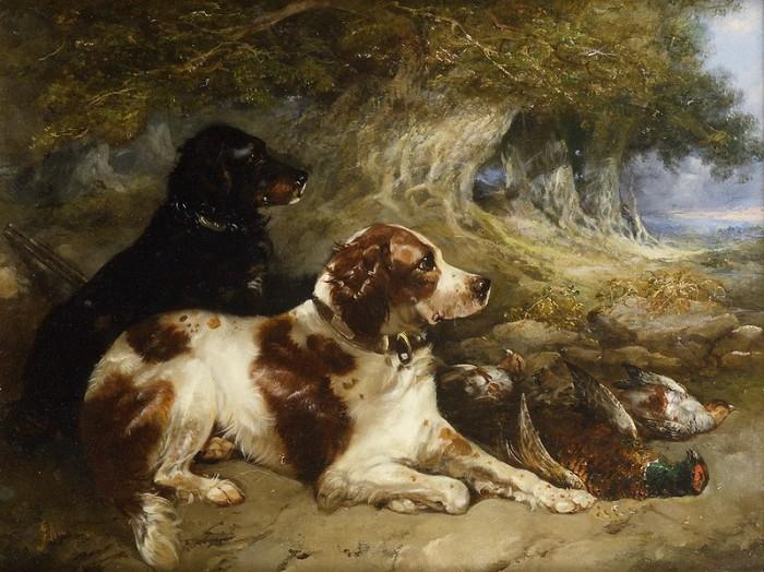 Охотничьи собаки на картине